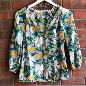 Diane Von Furstenberg Floral Button Down Blouse 4